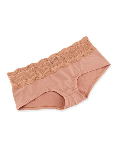 Cosabella Dolce Scalloped Eyelet Trim Boy Shorts, Hazel