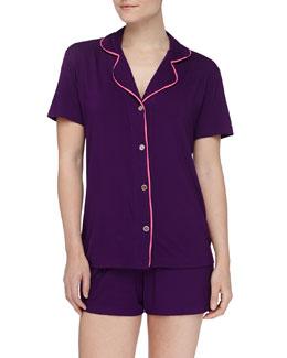 Cosabella Bella Boxer-Short Jersey Pajama Set, Amethyst/Miami Pink