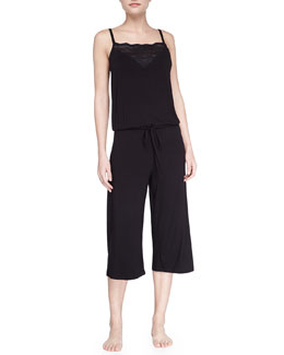 Cosabella Volute Jersey Lounge Jumpsuit, Black