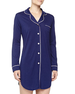Cosabella Bella Long-Sleeve Satin-Trim Sleepshirt, Twilight/Pink Lily