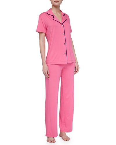 Cosabella Bella Piped Short-Sleeve Pajamas, Miami Pink/Twilight