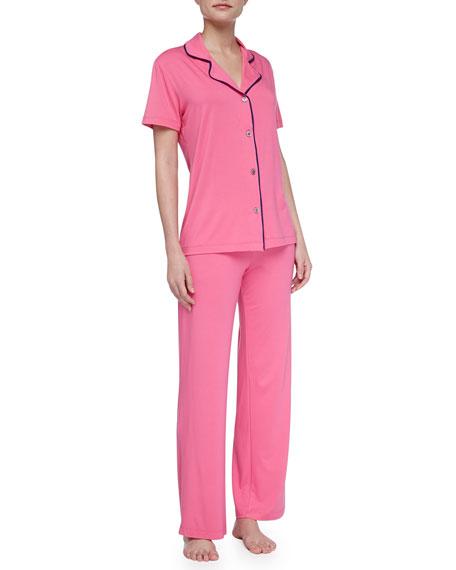 Bella Piped Short-Sleeve Pajamas, Miami Pink/Twilight