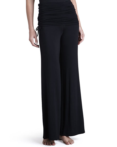 Lounge with Me Batwing Top and Fold Over Adjustable Palazzo Pant PJ Set, Black