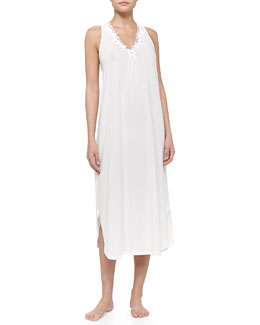Oscar de la Renta Whispering Flowers Pima Cotton Tank Nightgown, White