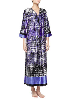 Oscar de la Renta Starry Sky Print Long Caftan Gown, Blue/White/Black