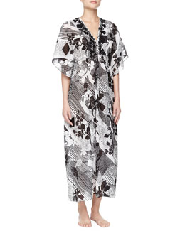 Oscar de la Renta Twilight Garden Floral Embroidered Caftan Gown, White/Black