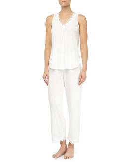 Oscar de la Renta Whispering Flowers Pima Cotton Tank Pajama Set, White