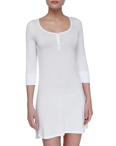 Splendid Intimates Henley Ribbed Chemise, White