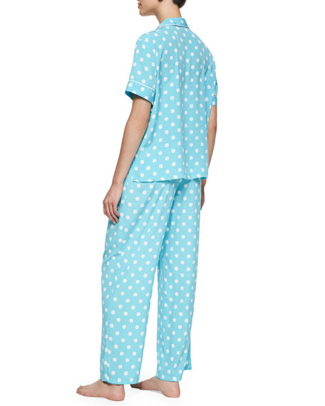 Short-Sleeve Polka Dot Pajama Set, Ice Blue