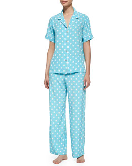Natori Short-Sleeve Polka Dot Pajama Set, Ice Blue