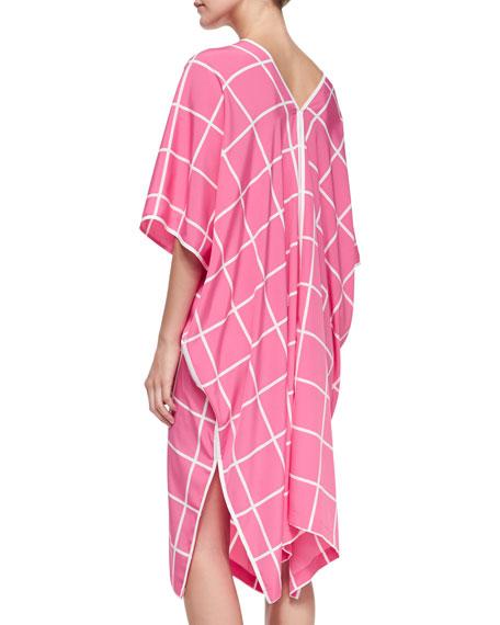 Windowpane-Print Short-Sleeve Caftan, Tropical Pink