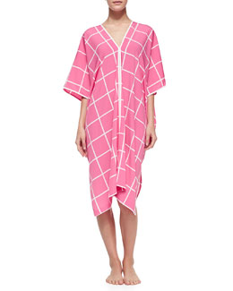 Natori Windowpane-Print Short-Sleeve Caftan, Tropical Pink