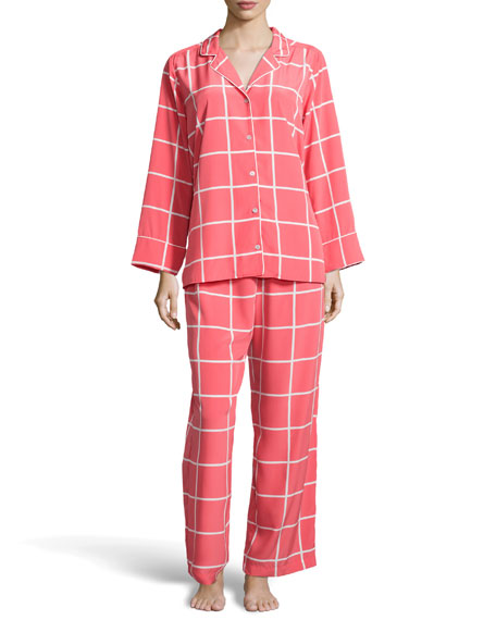 Windowpane Notched Pajama Set, Sunset