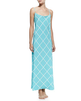 Natori Windowpane Sleeveless Gown, Ice Blue