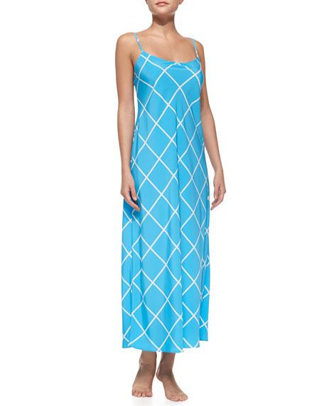 Windowpane-Print Sleeveless Gown, Medium Blue