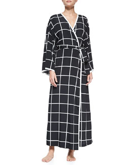 Natori Windowpane-Print Long-Sleeve Robe, Black