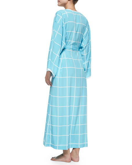 Windowpane-Print Long-Sleeve Robe, Ice Blue