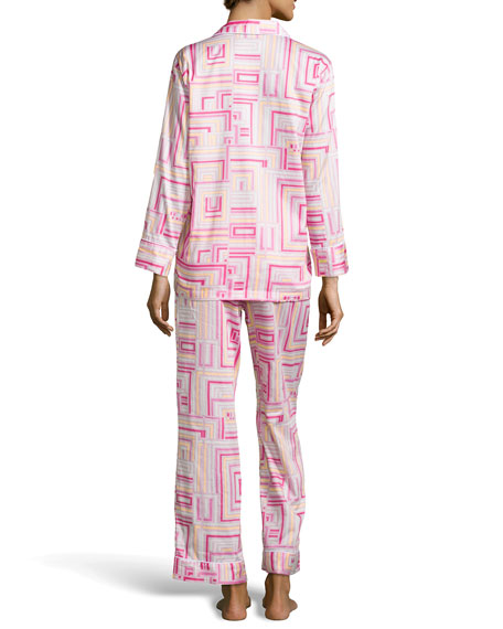 Cube-Print Notch Pajama, Hot Pink
