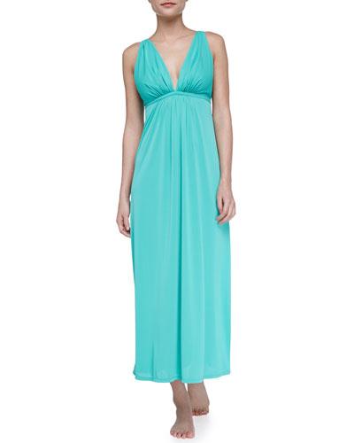 Natori Aphrodite Slinky Knit Gown, Green