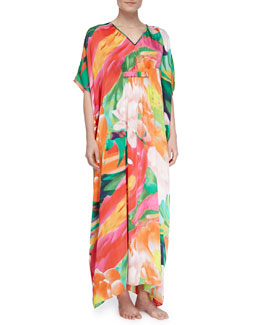 Natori Garbo Satin Floral Long Caftan, Multi