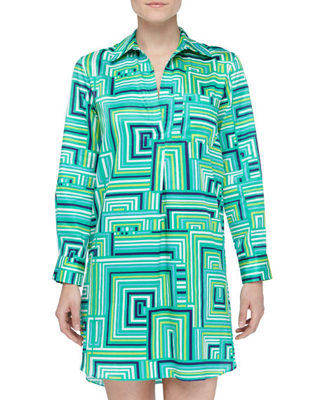 Cube-Print Sateen Sleep Shirt, Sea Glass