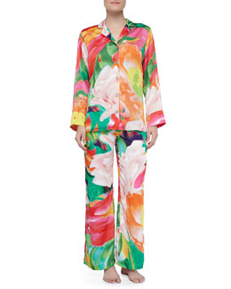 Natori Garbo Satin Floral Two-Piece PJ Set, Multi