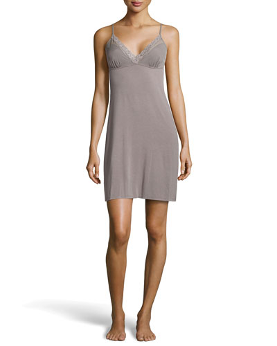 Natori Feathers Lace-Back Chemise, Gray