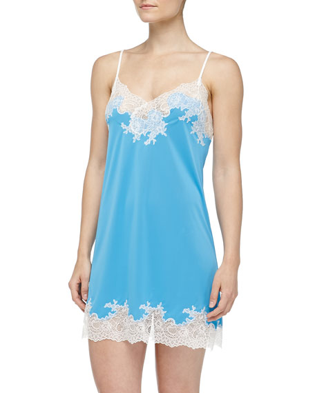 Enchant Lace Trimmed Chemise, Maritime Blue