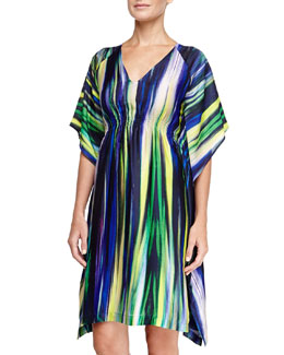 Natori Hayworth Short Caftan Lounge Tunic, Ming Blue
