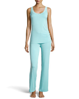 Natori Feathers Lace Tank Pajama Set, Ice Blue
