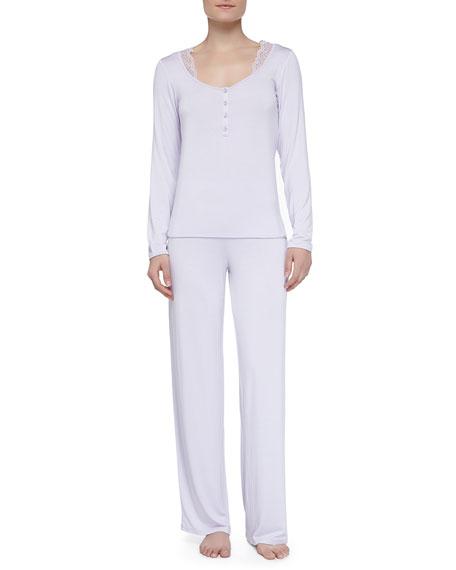 Juliana Lace Trimmed Pajamas, Lavender