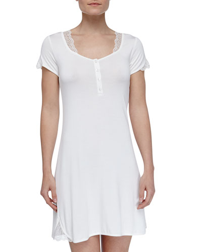 La Perla Julianna Microfiber Short-Sleeve Gown, Ivory