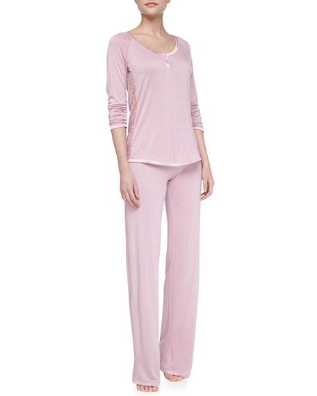 Sophia Scroll-Trim Pajamas, Rose