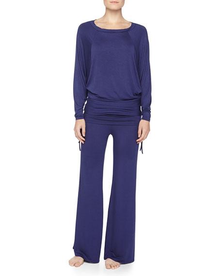 Fleur't Batwing Top & Palazzo Pants Pajama Set, Midnight Blue