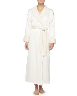 Natori Faux-Sherpa Lined Charmeuse Long Robe, Alabaster