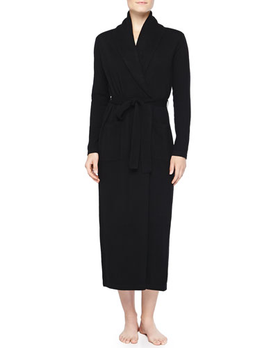 Neiman Marcus Cashmere Long Robe, Black