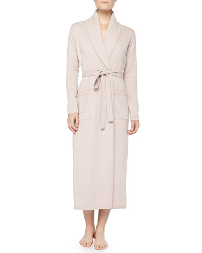 Neiman Marcus Cashmere Long Robe, Heathered Brulee