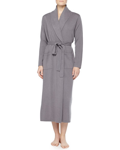 Neiman Marcus Cashmere Long Robe, Gray