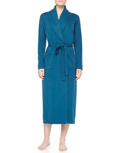 Neiman Marcus Cashmere Long Robe, Cerulean Blue
