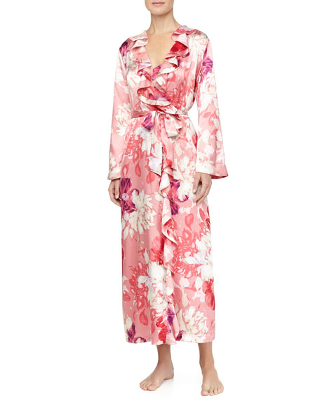 Caliente Floral Print Ruffle Long Robe, Wild Roses