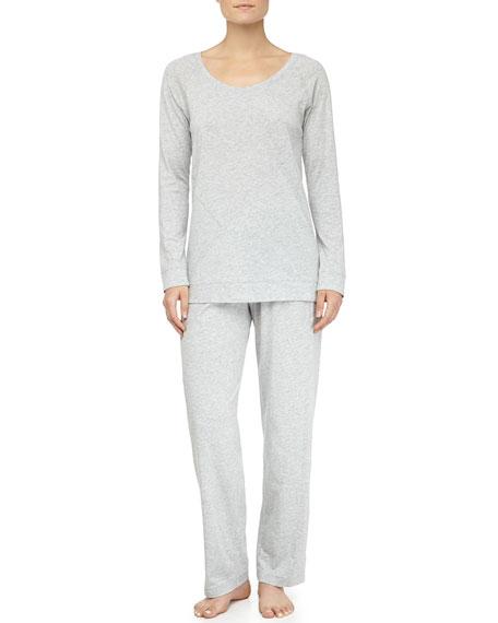 Asymmetric Seam Pima Cotton Pajama Set, Gray