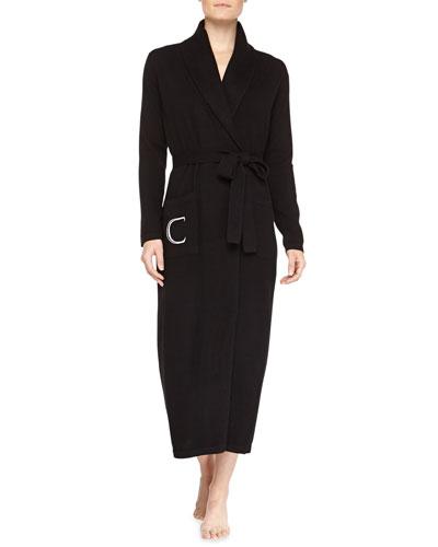 Neiman Marcus Cashmere Monogrammed Long Robe, Black