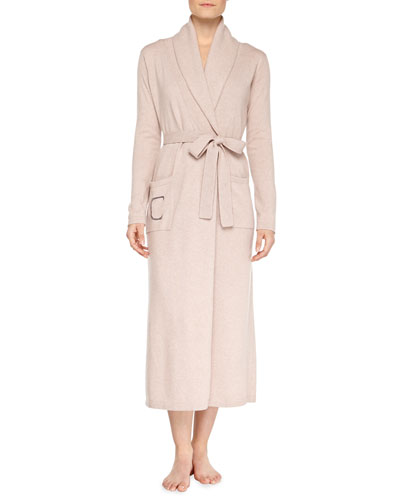 Neiman Marcus Cashmere Monogrammed Long Robe, Heathered Brulee