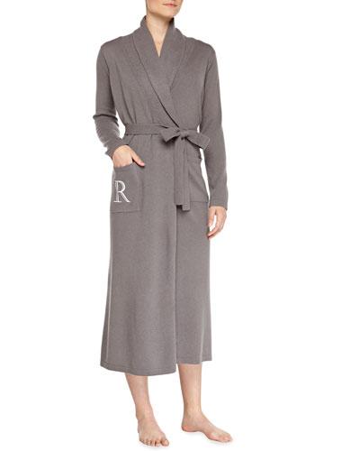 Neiman Marcus Cashmere Monogrammed Long Robe, Gray