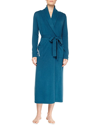 Neiman Marcus Cashmere Monogrammed Long Robe, Blue