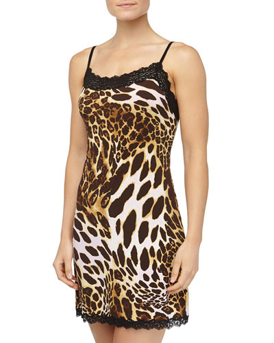 Natori Leopard Print Lace Trimmed Chemise, Natural