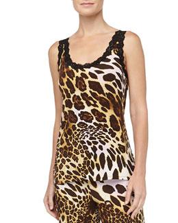 Natori Leopard Print Slinky Jersey Cami, Natural