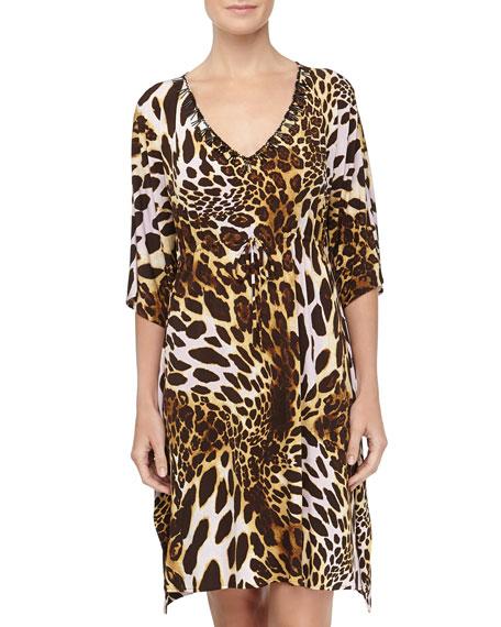 Leopard-Print Slinky Jersey Tunic