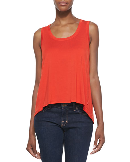 Josie Jersey High-Low Tee, Red