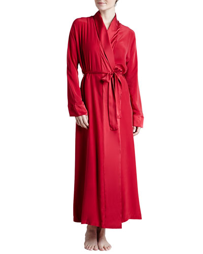 Donna Karan Glamour Silk Long Robe, Cardinal